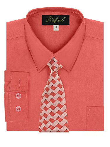 Boy's Dress Shirt & Tie - Melon, 14