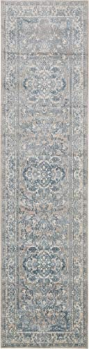 Unique Loom Paris Collection Pastel Tones Traditional Distressed Dark Gray Runner Rug 2 7 x 10 0