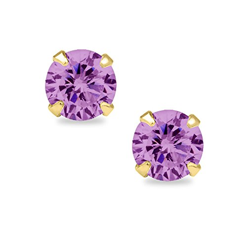 Zirconia Lavender Cubic Star (14k Yellow Gold Round-cut 4mm CZ June Birthstone Earring Safety Screw-back Studs)