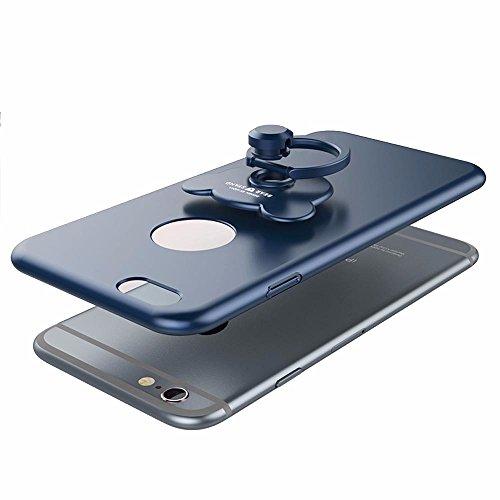 Carcasa Apple iPhone 6 Plus/iPhone 6s Plus (5.5), iPhone 6 Plus/iPhone 6s Plus Funda Silicona, EUWLY Ultrafina Original Cáscara del Teléfono Móvil PC Silicona Funda con Soporte Oso Anillo Protectora  Oso Anillo,Azul