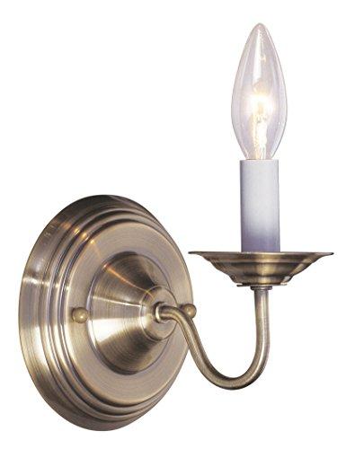 Livex Lighting 5017-01 Williamsburg 1-Light Wall Sconce, Antique Brass