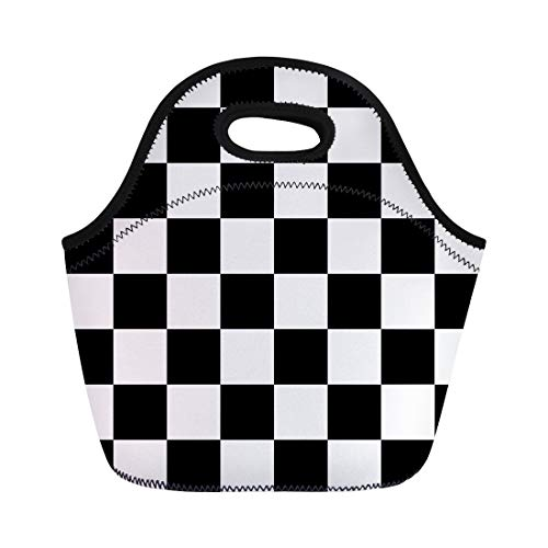 Semtomn Neoprene Lunch Tote Bag Pattern Checker Chess Abstract Black White Chessboard Car Grid Reusable Cooler Bags Insulated Thermal Picnic Handbag for Travel,School,Outdoors,Work