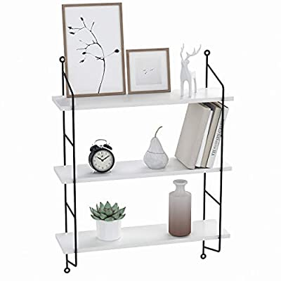 3-Tier Industrial Floating Shelves Wall Mounted Display Wall Shelf Storage Rack Wall Rack Holder Rack(White) - QUITE DEEPER THAN OTHER DISPLAY SHELVES - Simple design floating shelves constructed of Sturdy frames and MDF board support huge Weight Capacity, dimension: 19x 6 x 25 inches, and each tier 8 inch in deep.Each Shelf can hold 50 lbs. URBAN CHIC & USEFUL STORAGE SHELVES - Useful for adding additional shelving space to store and organize small items or clutter in bedroom, bathroom, kitchen and more, wall mounted shelves adds the perfect urban industrial flavor to your life(home or office), and great addition or accent to any wall space. FUNCTIONAL WALL SHELVES - Wall Mounted Metal Frame Display can be used for office, living room, bedroom, kitchen, bathroom, pantry and so on. It's a perfect storage for office supplies, decorative items, hobbies, plants, crafts, photos, media, CDs and books. - wall-shelves, living-room-furniture, living-room - 417lWY0t4mL. SS400  -