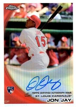 2010 Topps Chrome Refractor #178 Jon Jay Certified Autograph Baseball Rookie Card - Only 499 made!