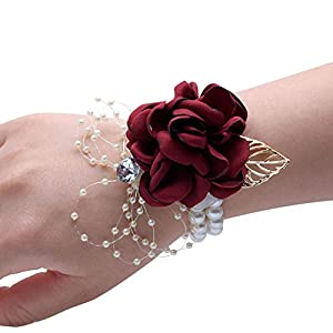 Wrist Corsage, Pack of 2 Wedding Bridal Wrist Flower Corsage Hand Flower Decor for Prom Party Wedding Homecoming (17)