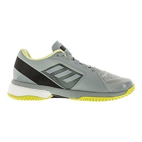 adidas Women's Stella McCartney Barricade Boost 2018 Tennis Shoe (6.5, Eggshell Grey/Aero Lime/Core Black)