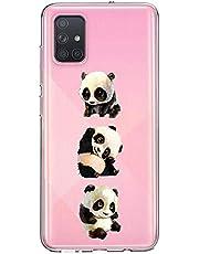 Oihxse Cristal Compatible con Samsung Galaxy A01 Funda Ultra-Delgado Silicona TPU Suave Protector Estuche Creativa Patrón Panda Protector Anti-Choque Carcasa Cover(Panda A1)