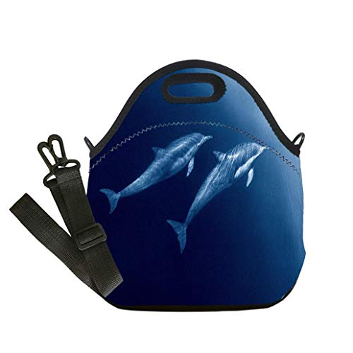 Lunch Box Insulation Lunch Bag Large Cooling Tote Bag Neoprene Insulated Lunch Tote Bag Dolphin Duo custom Stylish Lunch Bag, Multi-use for Men, Women and Kids -