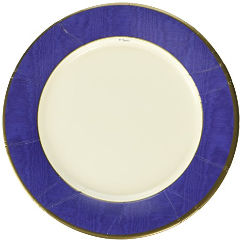 Entertaining with Caspari Moire Dinner Plates (8 Pack), Blue - Moire Luncheon Napkin