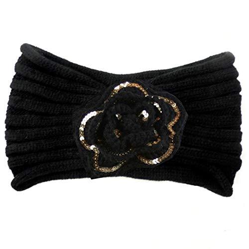 Soft Knit Winter Headband Earmuffs Black w/Gold Accented Flower