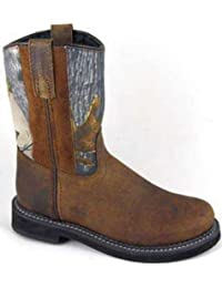 Smoky Mountain Childrens Buffalo Wellington Distressed Leather Round Toe Brown/Camo Western Cowboy Boot