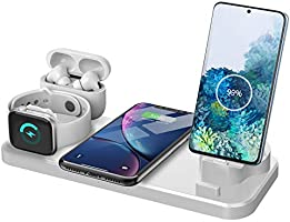 ワイヤレス充電器 急速充電 6in 1 充電スタン iPhone/Apple Watch/Airpods/マイクロUSB電話/Type-c電話/その他Qi対応機種も適用 置くだけ充電 ワイヤレスチャージャー 5W/7.5W/10W出力 家族用