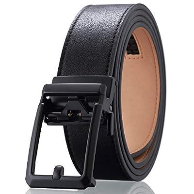 Men's Dress Adjustable Ratchet Belt - Black Leather Belts Automatic Buckle Solid Zine-Alloy