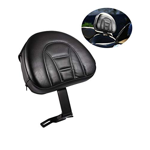 Harley Davidson Softail Parts - INNOGLOW Motorcycle Adjustable Driver Rider Backrest Black PU Kits W/Pocket for Harley Heritage Softail Fatboy 2007-2017