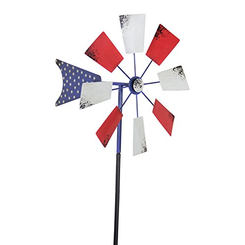 (Exhart Yard Pinwheel Decorations - American Flag Windmill Spinner - USA Garden Windmill w/Weather Resistant Americana Metal Blades, Patriotic Decorations, Garden Décor (12