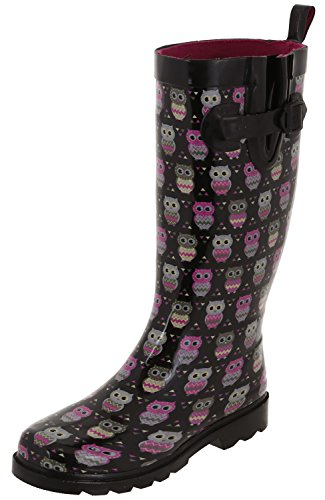 - Capelli New York Ladies Shiny Happy Owls Printed Tall Rainboot Black Combo 7