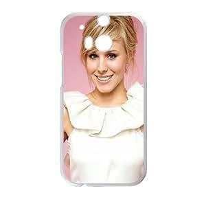 Kristen Bell Blonde Smile Look Dress funda HTC One M8 caja funda del teléfono celular del teléfono celular blanco cubierta de la caja funda EVAXLKNBC24422