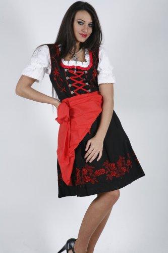 dirndloutlet Mujer Dirndl opaco Vestido de sleevedirndl corta Red - Black/red
