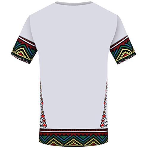 iZHH Men's T Shirt Fashion African Printed T Shirt Short Sleeve Casual Shirt Top Blouse White by iZHH (Image #1)