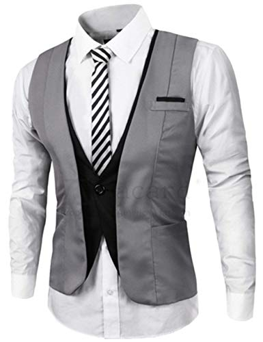 1 1 1 Casual Vest Classiche Neck St Teen Teen Teen Uomo Faux Cke Business Vest Stylish Two Vest Boy Vest Ragazzi V Gilet Cut Suit Grau Tight Solenne Ppen Deep CBxwTf