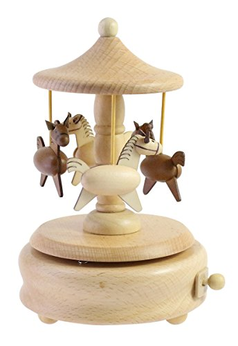 "Cute Quality Made Wooden Musical Box Featuring Swivel Carousel With Little Horses | Plays ""Castle in The Sky"" Song"