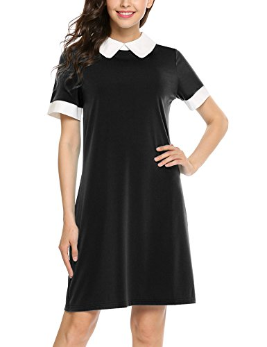 Womens Peter Pan Costume Pattern (Zeagoo Women's Perter Pan Collar Short Sleeve Contrast Color Casual A line Dress Black Small)