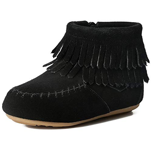 Kids Toddler Suede Leather Double Fringe Ankle Boots for Girls Black EU25 (Leather Shaft Genuine)