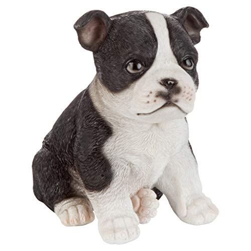 Design Toscano JQ11232 Boston Terrier Puppy Partner Collectible Dog Statue, Full Color