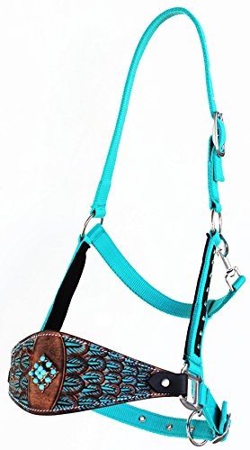(Horse Noseband Tack Bronc Leather Halter Tiedown Lead Rope 280M48)