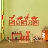 2016 Hot Boys Dinosaur Blocks personalized Name Wall Decal Nursery Room Kids New Fashion Vinyl Wall Graphics Bedroom Decor Wall Sticker