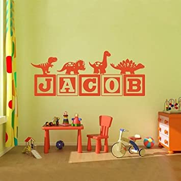 Amazoncom  Hot Boys Dinosaur Blocks Personalized Name Wall - Custom vinyl wall decals dinosaur