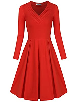 SUNGLORY Women's Casual Dress Long Sleeve Pleated A Line Midi Dress with Pocket