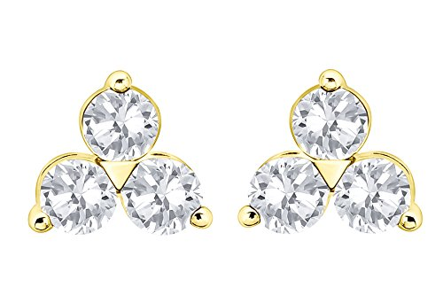 Prism Jewel G-H/SI1 0.76Ct Natural Round Diamond Screw Back Trilogy Earring, 14k Yellow Gold by Prism Jewel