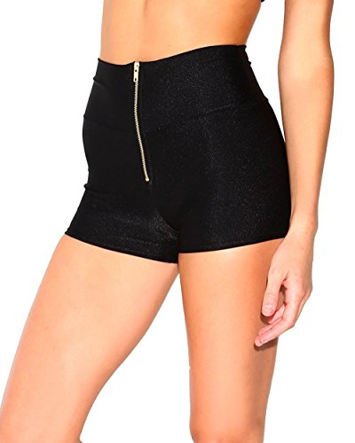 iHeartRaves Black High Waist Zipper Booty Shorts Dance Bottoms (Medium) ()