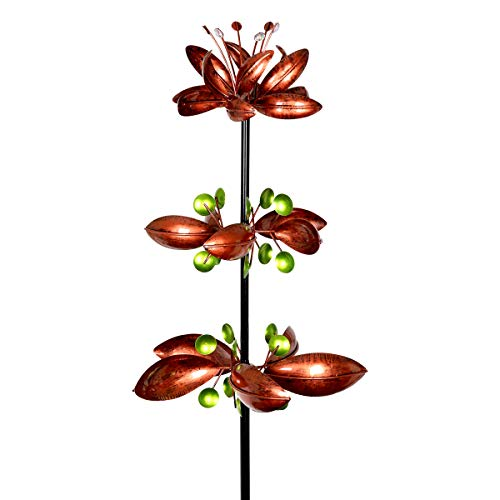 (Exhart Triple Lotus Flower Vertical Wind Spinners Garden Stake in Bronze - 3 Flower Spinners in Bronze Metal Finish Spin - Yard Art Décor, 14 by 66 Inches)