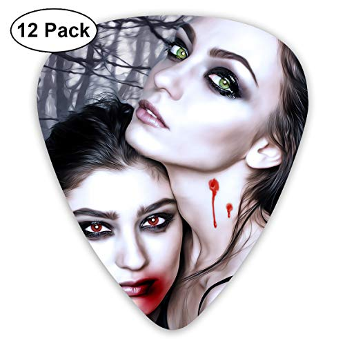 Halloween Vampire Fantasy Girl Blood Gothic Goth Bendy Ultra Thin 0.46 Med 0.73 Thick 0.96mm 4 Pieces Each Base Prime Plastic Jazz Mandolin Bass Ukelele Guitar Pick Plectrum Display ()
