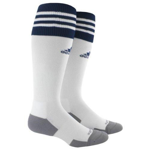 adidas Copa Zone Cushion II Soccer Socks (1-Pack), White/New Navy, Large