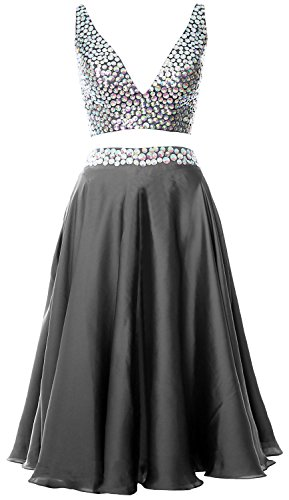 MACloth Women 2 Piece Short Prom Dress 2017 Straps V Neck Cocktail Formal Gown Gris