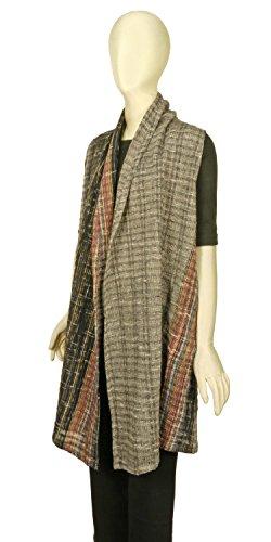 イル祖母オリエントきゃら(Cara) 手織りコットン ロングベスト ジレ 羽織り ひざ丈 フリーサイズ 綿100%