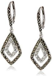 "Judith Jack ""Elegant Envy"" Sterling Silver Marcasite Crystal Diamond Shape Drop Earrings"