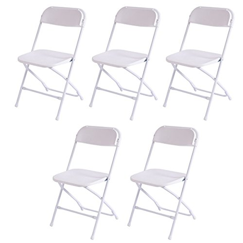 Costway Set of 5 Plastic Folding Chairs Stackable Wedding Party Event Commercial White