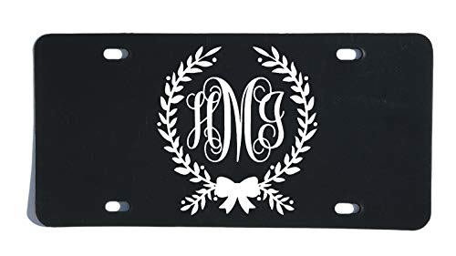 Custom Personalized Monogram Vanity Plate, Initial Front License Auto Tag, Car Accessories, Bow and Wreath Script Letter Design ()