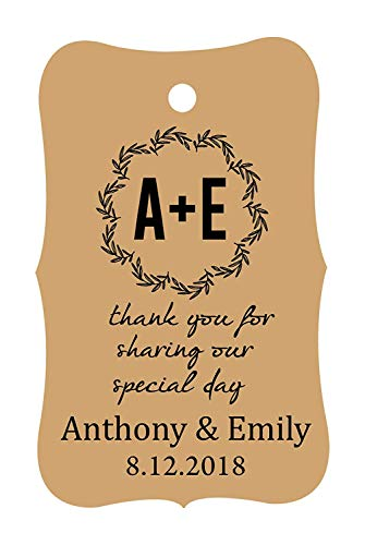 100 PCS Thank You for sharing our special day Custom Made Hang Tags Personalized Wedding Favor Gift Paper Tags ()