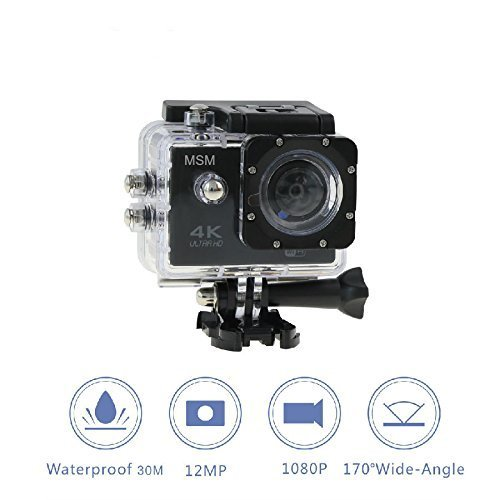 MSM Ultra HD 4K Sport Camera 12MP Waterproof With Remote Control & 7 Mounts For Different Sports Types With Wifi Connection (Black)