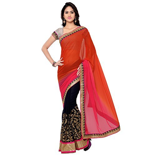 dc4b410970 Florence Women's with Chiffon Saree (FL-11203-DEC): Amazon.in: Clothing &  Accessories