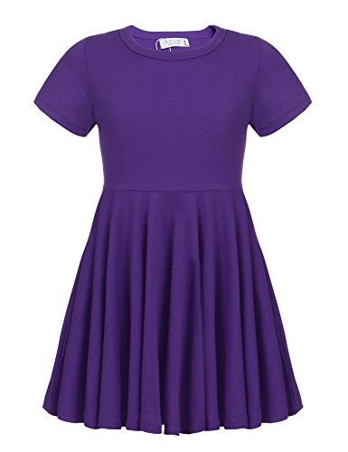 Arshiner Little Girls Short Sleeve A Line Casual Skater Dress 140(Age for 10-11Y) Purple -
