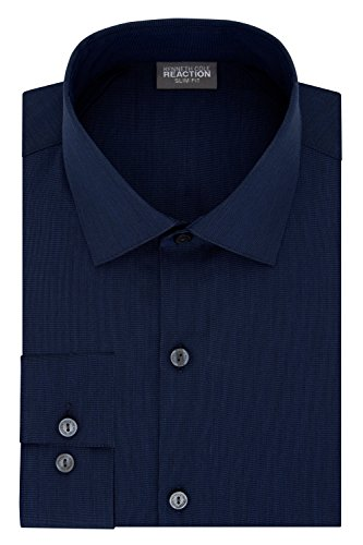 (Kenneth Cole REACTION Men's Big and Tall Dress Shirt Technicole Slim Fit Stretch Solid, Dark Navy 17.5