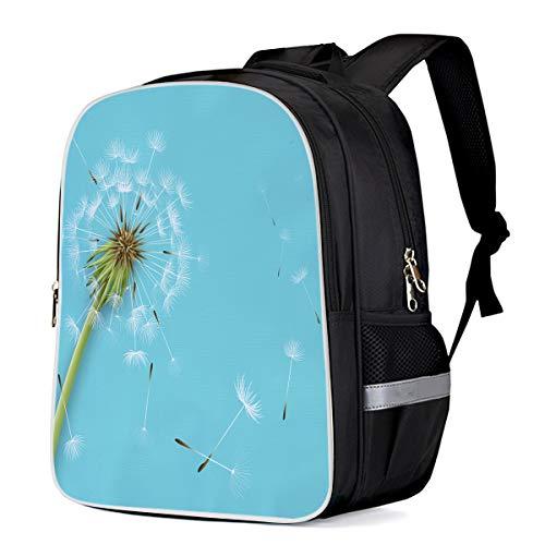Cool 3D Dandelion Blossom Flying Fluffy Petals On Blue Background Children School Book Bag Kids Printing -