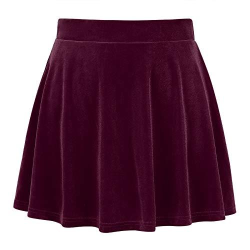 (HDE Women's Vintage Velvet Flared Pleated A-Line Circle Mini Skater Skirt)