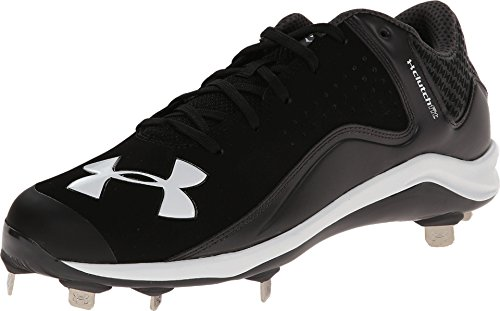 Under Armour Mens Yard Low ST Metal Cleat 10 1/2 US Black/Charcoal (Black/Grey)